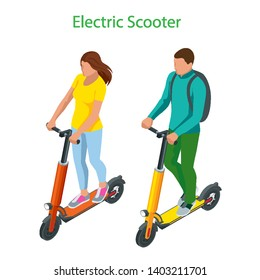 Isometric Electric Scooter on the road. Electric scooter transportation you can rent for a quick ride.