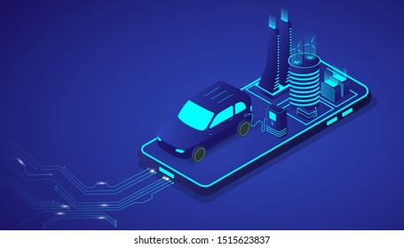 Isometric electrical car or EV modern vehicle with city on smartphone. Future energy and innovation transportation concept. Vector illustration design.