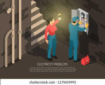 Isometric electrician horizontal background with indoor basement composition human characters of worker and host with text vector illustration