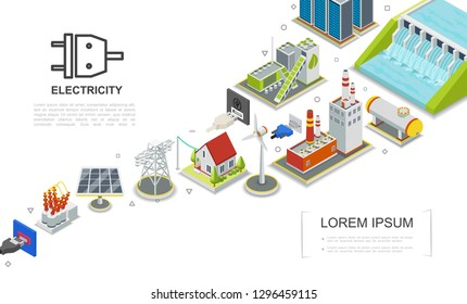 Isometric Electricity Concept