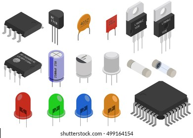 Isometric Electronic components icons set. Electrical components collection