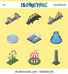 Isometric elements for cityscape, bridges, fountains, children carousel, monument, vector illustration set