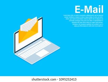 Isometric Email marketing, newsletter marketing, email subscription. Isometric design, vector illustration on background