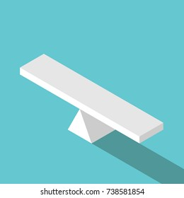 Isometric empty seesaw scale in equilibrium on turquoise blue background. Balance, comparison, decision and measure concept. Flat design. Vector illustration, no transparency, no gradients