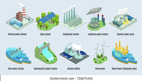 Isometric environmental eco plants set with factories and stations which using alternative energy sources isolated vector illustration