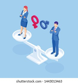 Isometric equality for genders a man and woman on scales concept. Equality between man and woman.