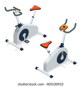 Isometric Exercise bike isolated. Indoor Exercise Bike Gym Cycling Fitness Equipment Active People Set Vector Image