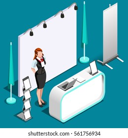 Isometric exhibition trade show booth stand women desk reception icon. Promotion roll up stand display panel. 3D Isometric People women icon set. Creative design stand vector shop illustration