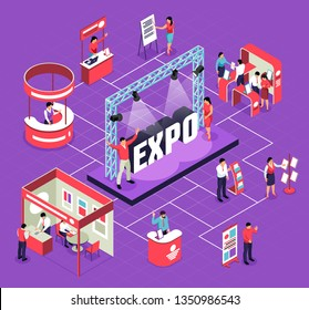 Isometric expo flowchart composition with isolated images of exhibit booths stands people and stage for performance vector illustration