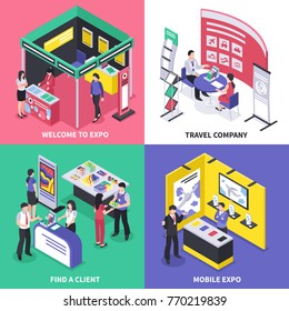 Isometric expo stand exhibition design concept with images of different exhibit booth with ads and human characters vector illustration