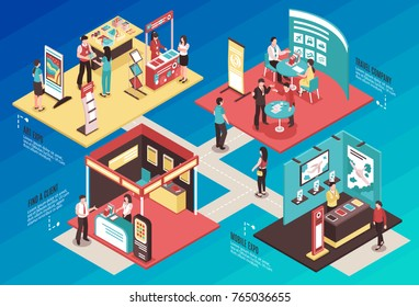 Isometric expo stand exhibition horizontal composition with text and images of different exhibit booths with people vector illustration