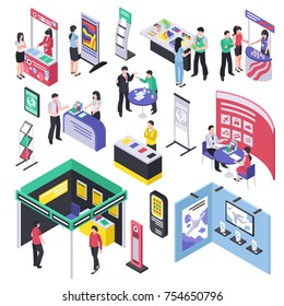 Isometric expo stand trade show exhibition set of isolated exhibit racks stands booth elements and people vector illustration
