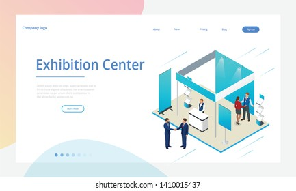 Isometric Expo Stands. Exhibition Demonstration Stand Concept. Exposition booth. Blank mockup.