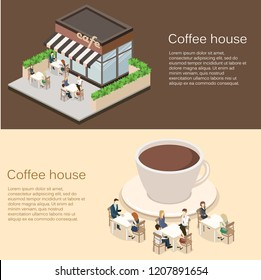 Isometric exterior of coffee shop or sweet-shop. People sit at the table and eating. Fence from plants. Flat 3D illustration. A large cup of coffee on the roof of the building