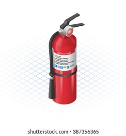 Isometric Extinguisher a Safety Equipment Vector Illustration