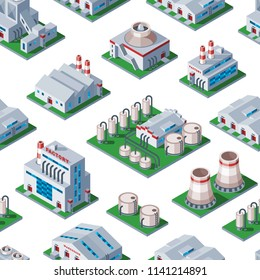 Isometric factory building seamless pattern background industrial element warehouse architecture house vector illustration