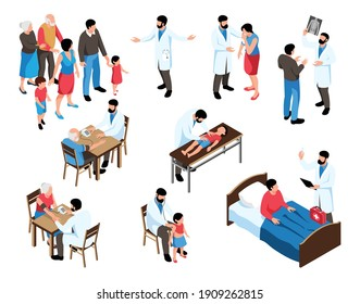 Isometric family doctor set of isolated icons and human characters of medical specialist consulting examining patients vector illustration