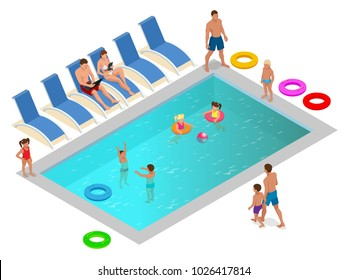 Isometric Family enjoying summer vacation in luxury swimming pool concept. Vector illustration