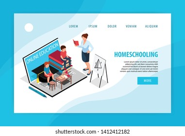 Isometric family homeschooling concept banner website landing page design with images and clickable links with text vector illustration