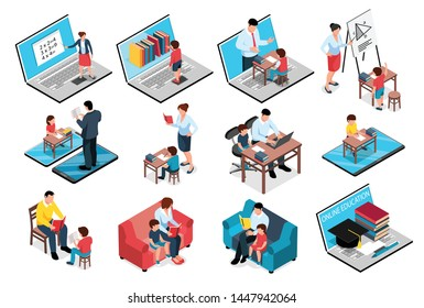 Isometric family homeschooling education learn online study set of isolated images with books computers and people vector illustration