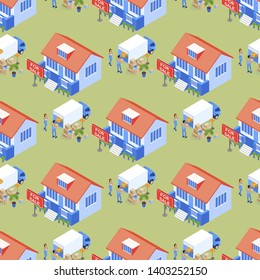 Isometric Family Property Transportation Seamless Pattern. Coordinated Process Service Moving House. Comfortable Apartment Moving Quickly, Professionally and Inexpensively. Vector Illustration.