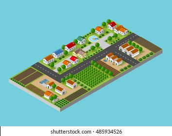 Isometric farm with the houses, streets and buildings. The three-dimensional top view of a rural landscape with nature and with the town