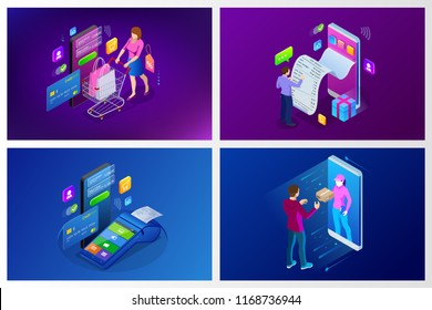 Isometric Fast Delivery Service, Online Delivery, Online Shopping, Finance Instrument web banner concept. Modern vector illustration foe website or lending