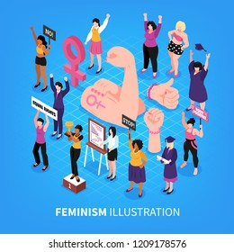 Isometric feminism composition with symbolic images of fists and human characters of female activists with women vector illustration
