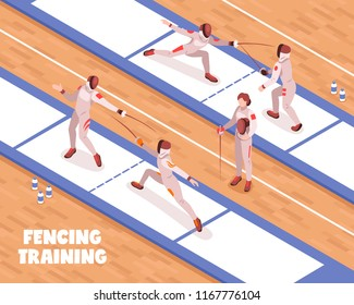 Isometric fencing composition with view of fencing saloon with fighting swordsmen on piste with editable text vector illustration