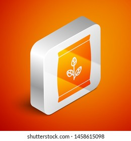 Isometric Fertilizer bag icon isolated on orange background. Silver square button. Vector Illustration