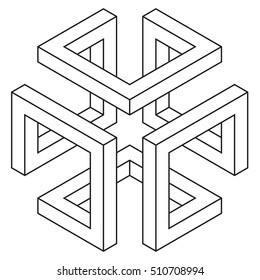Isometric figure, space geometry, vector illustration