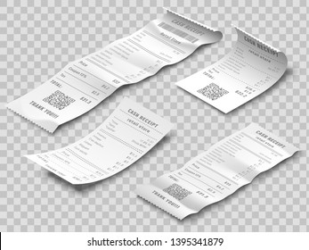 Isometric financial check. Payment checks, thermal printed rolled paper receipt and payments receipts isolated realistic 3d vector set