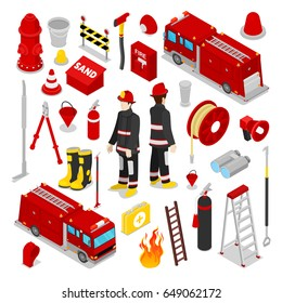 Isometric Firefighter. Fireman with Tank Truck and Equipment. Vector illustration