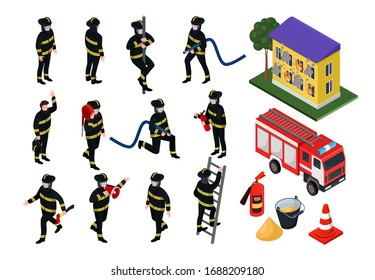 Isometric firefighter vector illustrations. Cartoon 3d people in uniform with firefighting hose equipment, fireman characters extinguish burning building, fire engine department set isolated on white