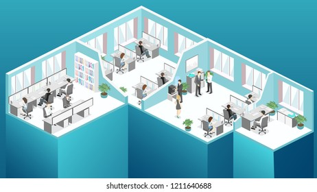 Isometric flat 3d abstract office floor interior departments concept vector. conference hall, offices, workplaces, director of the office interior