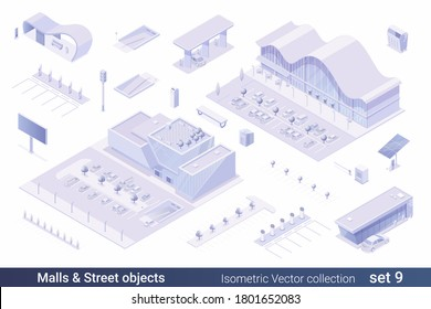 Isometric Flat 3D Architecture Building vector collection:  Shopping mall Shop Store, Parking, Gas Station, Electric station, solar panel, billboard, sign, bus stop, street objects