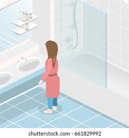 Isometric flat 3D concept interior of bathroom. Girl in the bathroom looking in the mirror