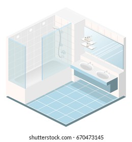 Isometric flat 3D concept interior of bathroom.