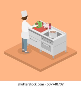 Isometric flat 3D concept vector interior of professional restaurant kitchen