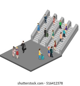 Isometric flat 3D concept vector composition depicting subway entrance underground stairs escalator