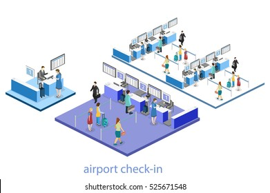 Isometric flat 3D concept vector interior of airport check-in.