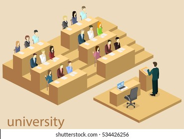 Isometric flat 3D concept vector interior university auditorium. Students sitting at desks and listening to the teacher. education training