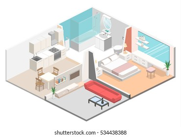 Isometric flat 3D concept vector interior of studio apartments with kitchen, bathroom, living room and bedroom