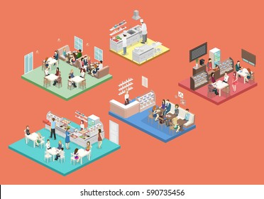 Isometric flat 3D concept vector interior of sweet-shop, cafe, canteen and restaurant kitchen. People sit at the table and eating. Flat 3D illustration