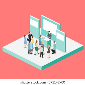 Isometric flat 3D concept vector exhibition or promotion stand. Trade show booth