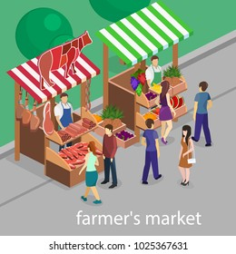 Isometric flat 3D isolated concept vector Butcher shop and fruit stand. The pieces of meat are sold on the show-window