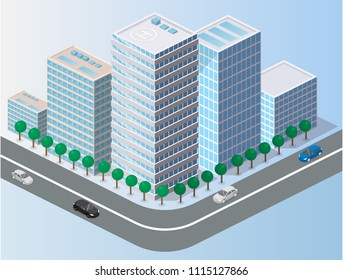 Isometric flat 3D isolated concept vector city three-dimensional summer town quarter. Skyscrapers, apartment, office, houses and streets