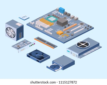 Isometric flat 3D isolated concept vector Computer chip technology processor circuit and computer motherboard information system