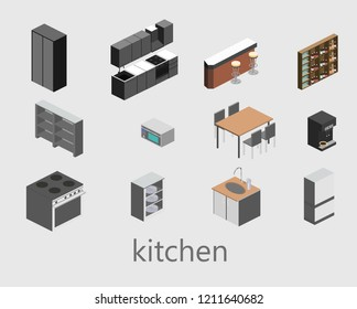 Isometric flat 3D isolated concept vector cutaway interior of kitchen