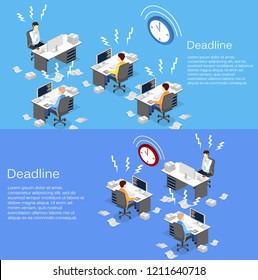Isometric flat 3D isolated concept Deadline Concept of overworked man. Time to work.